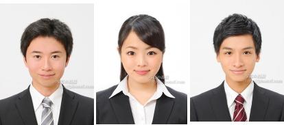 就職活動写真,東京,証明写真の表情, 見本11 12 13