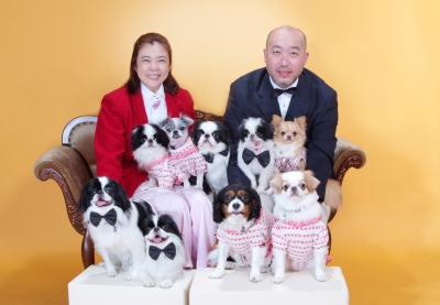 ペットと一緒に家族写真 ワンちゃん9匹と江戸川区写真スタジオで