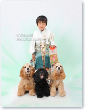 七五三写真 五歳 袴 ペットと一緒に七五三記念写真撮影