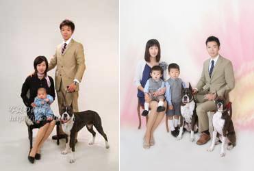 ペットと家族写真 家族記念写真、ファミリーフォト、ペットと一緒の写真を撮影