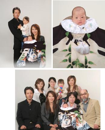 江戸川区の写真館 お宮参り写真見本 赤ちゃんお一人でお利口でした