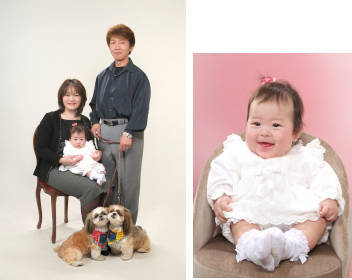 江戸川区の写真館 ペットと一緒にお宮参り写真 ペットも赤ちゃんも可愛いこと