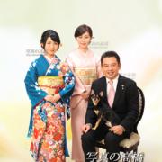 チワワ,東京フォトスタジオでペットと一緒に成人式家族写真