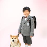 ペットと入学記念写真,