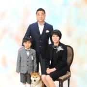 ペットと入学記念写真,家族写真
