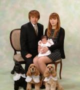 ワンチャンも赤ちゃんと一緒に おすまし顔で記念撮影です お子様の七五三写真はこちらにあります