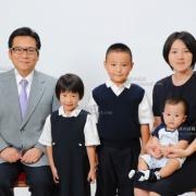 小学校受験用家族写真 服装 ネクタイ髪型例