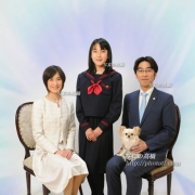 入学,卒業,ペットと一緒家族写真